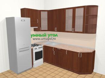 Угловая кухня МДФ матовый в классическом стиле 6,8 м², 190 на 250 см, Вишня темная, верхние модули 92 см, холодильник, отдельно стоящая плита