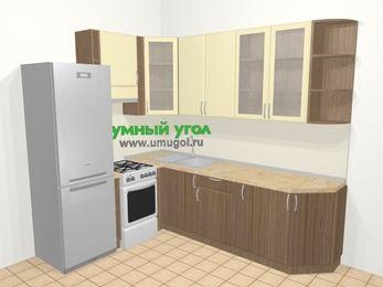 Угловая кухня МДФ матовый в современном стиле 6,8 м², 190 на 250 см, Ваниль / Лиственница бронзовая, верхние модули 92 см, холодильник, отдельно стоящая плита
