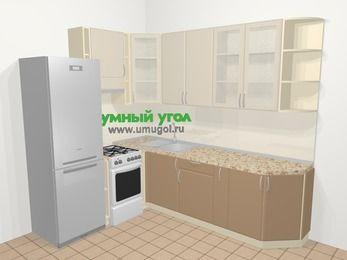Угловая кухня МДФ матовый в современном стиле 6,8 м², 190 на 250 см, Керамик / Кофе, верхние модули 92 см, холодильник, отдельно стоящая плита