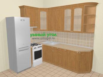 Угловая кухня МДФ матовый в стиле кантри 6,8 м², 190 на 250 см, Ольха, верхние модули 92 см, холодильник, отдельно стоящая плита