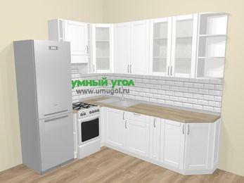 Угловая кухня МДФ матовый  в скандинавском стиле 6,8 м², 190 на 250 см, Белый, верхние модули 92 см, холодильник, отдельно стоящая плита