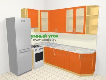 Угловая кухня МДФ металлик в современном стиле 6,8 м², 190 на 250 см, Оранжевый металлик, верхние модули 92 см, холодильник, отдельно стоящая плита