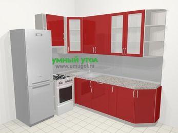 Угловая кухня МДФ глянец в современном стиле 6,8 м², 190 на 250 см, Красный, верхние модули 92 см, холодильник, отдельно стоящая плита