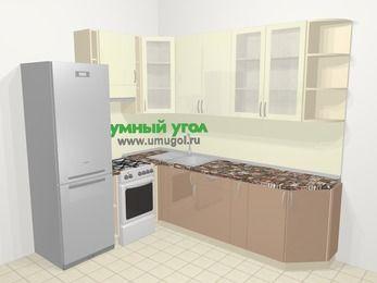 Угловая кухня МДФ глянец в современном стиле 6,8 м², 190 на 250 см, Жасмин / Капучино, верхние модули 92 см, холодильник, отдельно стоящая плита
