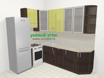 Кухни пластиковые угловые в современном стиле 6,8 м², 190 на 250 см, Желтый Галлион глянец / Дерево Мокка, верхние модули 92 см, холодильник, отдельно стоящая плита