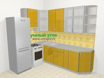 Кухни пластиковые угловые в современном стиле 6,8 м², 190 на 250 см, Желтый глянец, верхние модули 92 см, холодильник, отдельно стоящая плита
