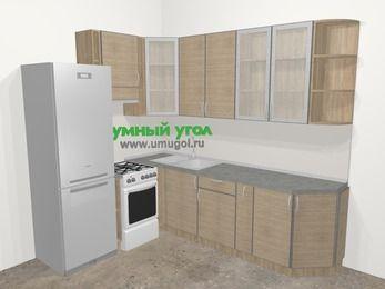 Кухни пластиковые угловые в стиле лофт 6,8 м², 190 на 250 см, Чибли бежевый, верхние модули 92 см, холодильник, отдельно стоящая плита