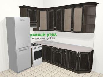 Угловая кухня МДФ патина в классическом стиле 6,8 м², 190 на 250 см, Венге, верхние модули 92 см, холодильник, отдельно стоящая плита
