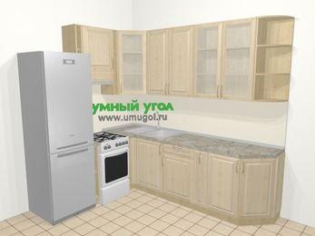 Угловая кухня из массива дерева в классическом стиле 6,8 м², 190 на 250 см, Светло-коричневые оттенки, верхние модули 92 см, холодильник, отдельно стоящая плита