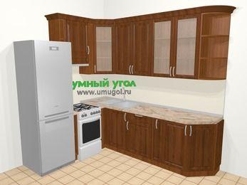 Угловая кухня из массива дерева в классическом стиле 6,8 м², 190 на 250 см, Темно-коричневые оттенки, верхние модули 92 см, холодильник, отдельно стоящая плита