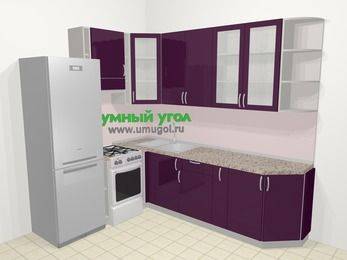 Угловая кухня МДФ глянец в современном стиле 6,8 м², 190 на 250 см, Баклажан, верхние модули 92 см, холодильник, отдельно стоящая плита