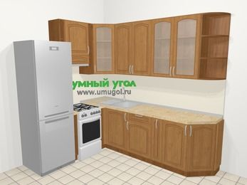 Угловая кухня МДФ патина в классическом стиле 6,8 м², 190 на 250 см, Ольха, верхние модули 92 см, холодильник, отдельно стоящая плита