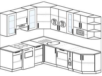 Угловая кухня 6,8 м² (1,9✕2,5 м), верхние модули 92 см, модуль под свч, отдельно стоящая плита