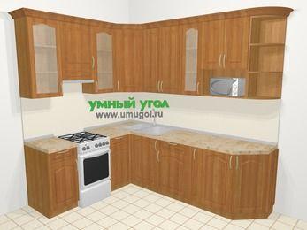 Угловая кухня МДФ матовый в классическом стиле 6,8 м², 190 на 250 см, Вишня, верхние модули 92 см, модуль под свч, отдельно стоящая плита