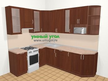 Угловая кухня МДФ матовый в классическом стиле 6,8 м², 190 на 250 см, Вишня темная, верхние модули 92 см, модуль под свч, отдельно стоящая плита