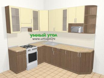 Угловая кухня МДФ матовый в современном стиле 6,8 м², 190 на 250 см, Ваниль / Лиственница бронзовая, верхние модули 92 см, модуль под свч, отдельно стоящая плита