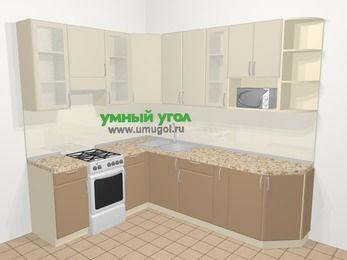 Угловая кухня МДФ матовый в современном стиле 6,8 м², 190 на 250 см, Керамик / Кофе, верхние модули 92 см, модуль под свч, отдельно стоящая плита