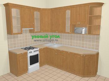 Угловая кухня МДФ матовый в стиле кантри 6,8 м², 190 на 250 см, Ольха, верхние модули 92 см, модуль под свч, отдельно стоящая плита