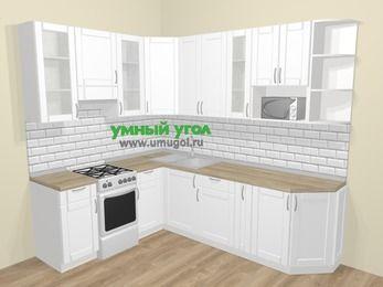 Угловая кухня МДФ матовый  в скандинавском стиле 6,8 м², 190 на 250 см, Белый, верхние модули 92 см, модуль под свч, отдельно стоящая плита
