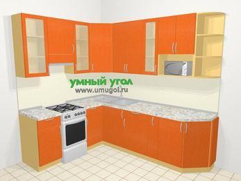 Угловая кухня МДФ металлик в современном стиле 6,8 м², 190 на 250 см, Оранжевый металлик, верхние модули 92 см, модуль под свч, отдельно стоящая плита
