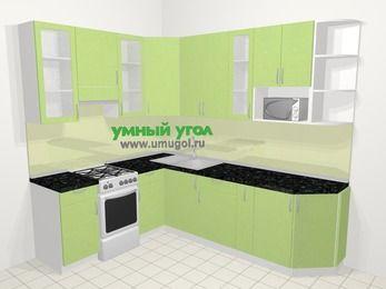 Угловая кухня МДФ металлик в современном стиле 6,8 м², 190 на 250 см, Салатовый металлик, верхние модули 92 см, модуль под свч, отдельно стоящая плита