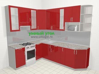Угловая кухня МДФ глянец в современном стиле 6,8 м², 190 на 250 см, Красный, верхние модули 92 см, модуль под свч, отдельно стоящая плита