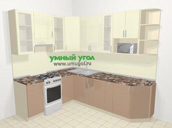 Угловая кухня МДФ глянец в современном стиле 6,8 м², 190 на 250 см, Жасмин / Капучино, верхние модули 92 см, модуль под свч, отдельно стоящая плита