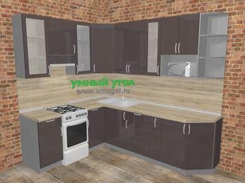 Угловая кухня МДФ глянец в стиле лофт 6,8 м², 190 на 250 см, Шоколад, верхние модули 92 см, модуль под свч, отдельно стоящая плита