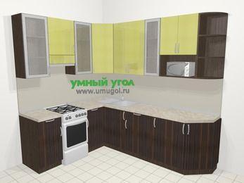 Кухни пластиковые угловые в современном стиле 6,8 м², 190 на 250 см, Желтый Галлион глянец / Дерево Мокка, верхние модули 92 см, модуль под свч, отдельно стоящая плита