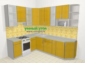 Кухни пластиковые угловые в современном стиле 6,8 м², 190 на 250 см, Желтый глянец, верхние модули 92 см, модуль под свч, отдельно стоящая плита