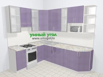 Кухни пластиковые угловые в современном стиле 6,8 м², 190 на 250 см, Сиреневый глянец, верхние модули 92 см, модуль под свч, отдельно стоящая плита