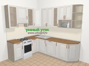 Угловая кухня МДФ патина в классическом стиле 6,8 м², 190 на 250 см, Лиственница белая, верхние модули 92 см, модуль под свч, отдельно стоящая плита