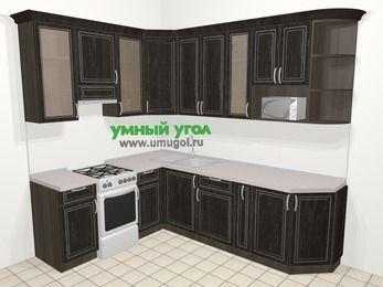 Угловая кухня МДФ патина в классическом стиле 6,8 м², 190 на 250 см, Венге, верхние модули 92 см, модуль под свч, отдельно стоящая плита