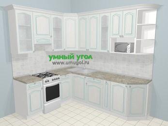 Угловая кухня МДФ патина в стиле прованс 6,8 м², 190 на 250 см, Лиственница белая, верхние модули 92 см, модуль под свч, отдельно стоящая плита