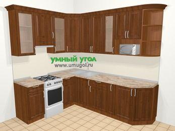Угловая кухня из массива дерева в классическом стиле 6,8 м², 190 на 250 см, Темно-коричневые оттенки, верхние модули 92 см, модуль под свч, отдельно стоящая плита
