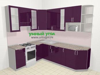 Угловая кухня МДФ глянец в современном стиле 6,8 м², 190 на 250 см, Баклажан, верхние модули 92 см, модуль под свч, отдельно стоящая плита