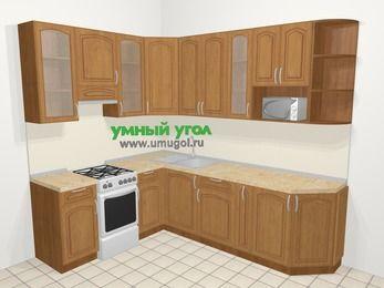 Угловая кухня МДФ патина в классическом стиле 6,8 м², 190 на 250 см, Ольха, верхние модули 92 см, модуль под свч, отдельно стоящая плита