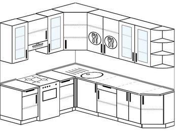 Угловая кухня 6,8 м² (1,9✕2,5 м), верхние модули 92 см, отдельно стоящая плита