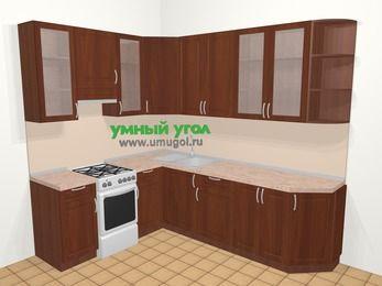 Угловая кухня МДФ матовый в классическом стиле 6,8 м², 190 на 250 см, Вишня темная, верхние модули 92 см, отдельно стоящая плита