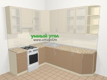 Угловая кухня МДФ матовый в современном стиле 6,8 м², 190 на 250 см, Керамик / Кофе, верхние модули 92 см, отдельно стоящая плита