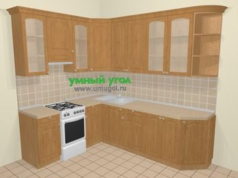 Угловая кухня МДФ матовый в стиле кантри 6,8 м², 190 на 250 см, Ольха, верхние модули 92 см, отдельно стоящая плита