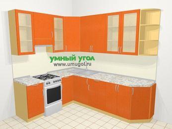 Угловая кухня МДФ металлик в современном стиле 6,8 м², 190 на 250 см, Оранжевый металлик, верхние модули 92 см, отдельно стоящая плита