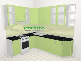 Угловая кухня МДФ металлик в современном стиле 6,8 м², 190 на 250 см, Салатовый металлик, верхние модули 92 см, отдельно стоящая плита