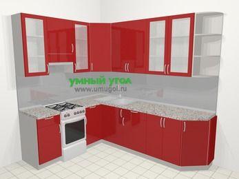 Угловая кухня МДФ глянец в современном стиле 6,8 м², 190 на 250 см, Красный, верхние модули 92 см, отдельно стоящая плита