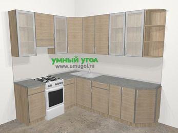 Кухни пластиковые угловые в стиле лофт 6,8 м², 190 на 250 см, Чибли бежевый, верхние модули 92 см, отдельно стоящая плита