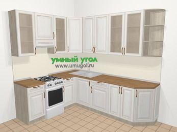 Угловая кухня МДФ патина в классическом стиле 6,8 м², 190 на 250 см, Лиственница белая, верхние модули 92 см, отдельно стоящая плита