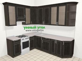 Угловая кухня МДФ патина в классическом стиле 6,8 м², 190 на 250 см, Венге, верхние модули 92 см, отдельно стоящая плита