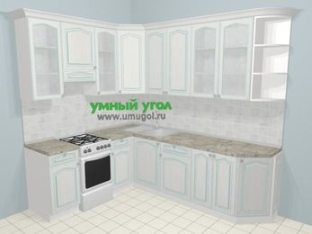 Угловая кухня МДФ патина в стиле прованс 6,8 м², 190 на 250 см, Лиственница белая, верхние модули 92 см, отдельно стоящая плита