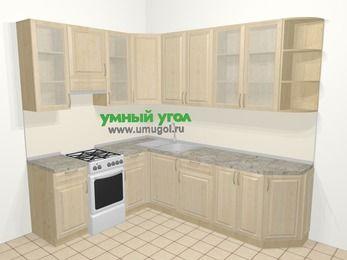 Угловая кухня из массива дерева в классическом стиле 6,8 м², 190 на 250 см, Светло-коричневые оттенки, верхние модули 92 см, отдельно стоящая плита