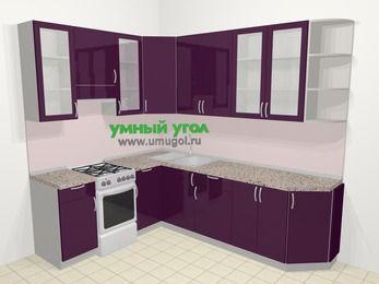 Угловая кухня МДФ глянец в современном стиле 6,8 м², 190 на 250 см, Баклажан, верхние модули 92 см, отдельно стоящая плита